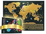 Carte du Monde à gratter XXL - Carte du Monde en Poster Extra Large et Personnalisé + Carte à gratter de l'Europe en Bonus. Inclut un Tube Cadeau Deluxe Personnalisé et 2 Cartes Détaillées (Carte du monde, Carte de l'Europe) avec les Capitales, Couleurs Vibrantes, Lieux Emblématiques Cachés, Merveilles du Monde, États des USA Précisés et tous les Drapeaux des Pays. Le Pack Cadeau Inclut un Outil de grattage précis et des Stickers de Souvenirs de Voyage ( Noir, carte du monde à gratter (61 x 42.7 CM) + carte euro)