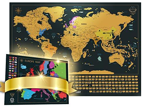 Mapa Mundi de Rascar (61 X 42,7 cm) + Mapa de Europa de Rascar (46 X 33 cm). Para rascar Islas, países o las ciudades que has visitado. Con pegatinas + utensilio para rascar