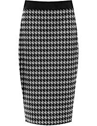 36a63106316 WearAll Plus Size Womens Dogtooth Check Back Slit Pencil Skirt Ladies  Stretch Sizes 12-26