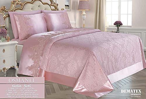 Dematex Braut Set | Qualitatives Bettdecken und Bettwäschen Set | Hautfreundlich | Pink | Ottomane -