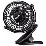 EasyAcc Clip bureau Ventilateur Mini ventilateur USB ventilateur de table portable Ventilateurs 720 ° de rotation pour maison bureau chambre et plus – Noir