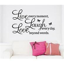 Vive cada momento reír cada día más allá de las palabras amor pared Pared Adhesivos Pegatinas Presupuesto negro papel tapiz removible vinilo decoración del hogar