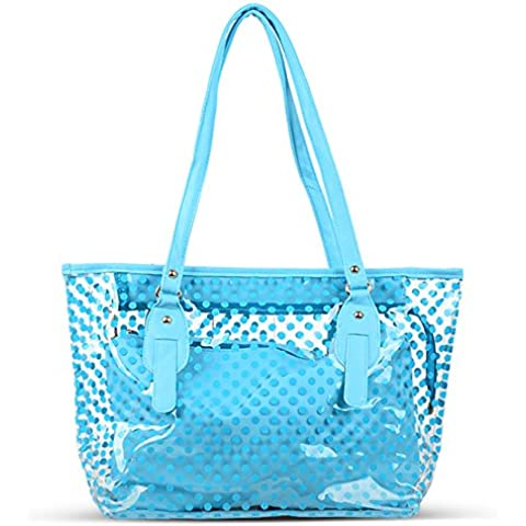 STONG 2 in 1 Transparent Beach Bag Wave Point Style Trasparente Spiaggia Donne Borsa Handbag Shoulder bag Blu