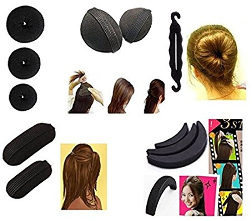 Majik Hair Accessories Combo Of 11 Pcs (Combo Of 3 Donut+ Hair Base Set +Hair Puff Set + Tic-Tac Hair Base+1 Banana Donut)