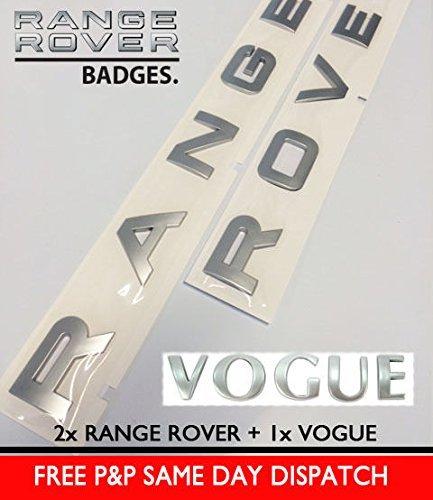 Silber RANGE ROVER VOGUE Buchstaben Emblem Buchstaben L322 P38 Heck Motorhaube Kofferraum Haube (Buchstaben Haube)