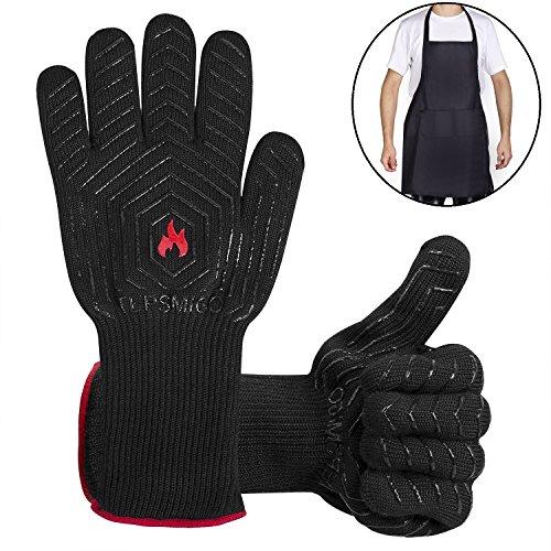 51HYvpdShjL - TEPSMIGO Feuerhandschuhe,Grillhandschuhe Feuerfest,Ofenhandschuhe,Grillhandschuhe Hitzebeständig,Grillzubehör Handschuhe mit Einer Grillschürze