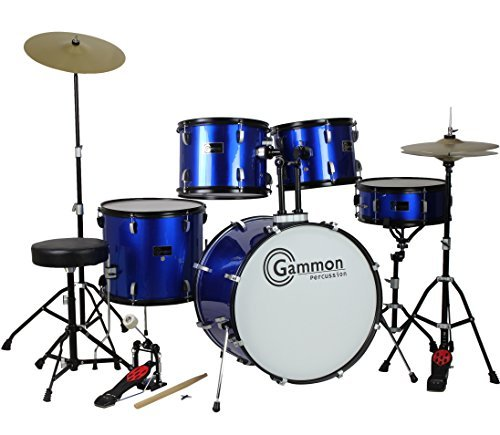 drum-set-full-size-adult-5-piece-complete-metallic-blue-with-cymbals-stands-stool-sticks