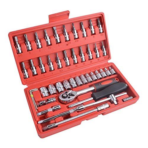 46-piece 1/10,2cm bussole e punte per cacciavite con chiave a cricchetto, per veicoli a motore bicicletta strumenti di riparazione