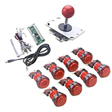 WINIT 1 Player LED Lights Arcade DIY Parts Kit 8 x LED Light Button + 5Pin 8 Way Joystick for USB MAME, Raspberry Pi, Raspberry Pi 2, Raspberry Pi 3 RetroPie Projects Color: Red