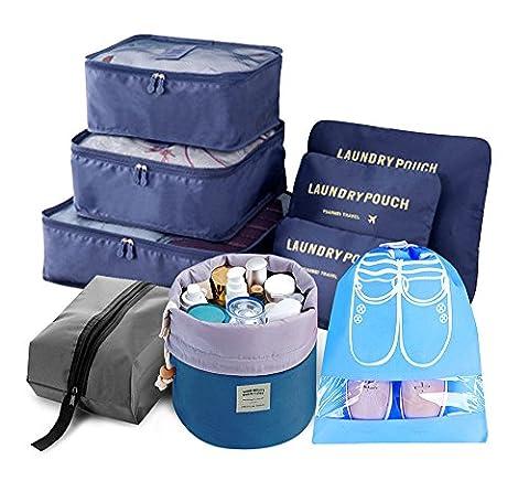 9pcs Reise Veranstalter Licht Verpackung Würfel einschließen mit Wasserdicht Schuh Veranstalter Groß Mittel Klein Wäsche Kompression Beutel Blau