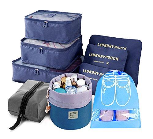 Trip Packing Case (9pcs Reise Veranstalter Licht Verpackung Würfel einschließen mit Wasserdicht Schuh Veranstalter Groß Mittel Klein Wäsche Kompression Beutel Blau)