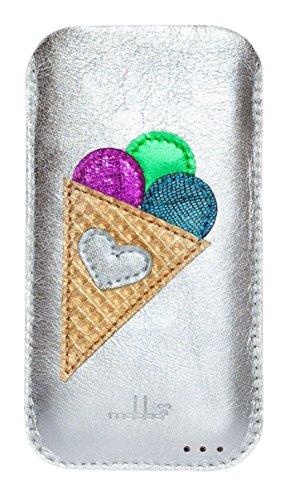 mabba® iPhone Tasche Ledertasche für das iPhone 6/6s und 7 als auch iPhone 6/6s und 7 Plus aus Leder -Summerlove- Handmade (iPhone 7 Plus, silber)