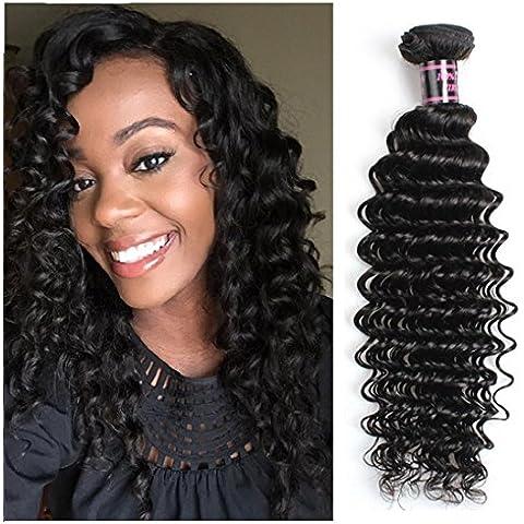 Meydlee Extensiones de cabello La calidad superior profunda brasileña Virgen de la onda del pelo brasileño del 100% del pelo humano de la armadura Sólo 1 Bundle 8A brasileña 100g rizado pelo de la Virgen del color natural 1B , 20 inch