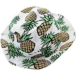 Rovinci Impresión de piña Sombrero de Copa Sombrero de Sol Plegable Pescador Gorra Sombrero de protección Solar Gran Sombrero de Pescador para Mujeres (Blanco)
