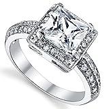 Damen Sterling Silber 925 Verlobungsring, Ehering Mit 2 Karat Prinzessin Schnitt Zirkonia Bequemlichkeit Passen,Größe 54