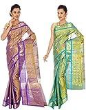 Mahaveer Designers Kanchipattu Jari Multi Colour Combo Silk Sarees (combo7)