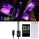 Striscia LED Auto -Gaoni Luci LED Interne per Auto con 48 LED RGB, 4 Barre Striscia LED Auto 8 Colori, Illuminazione Auto Strisce 4 Modalità Musica, Telecomando- Alimentato da USB