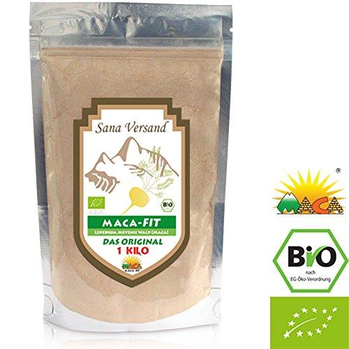 Maca fit 1 kg puro organico radice di maca in polvere di Maca del Perù polvere originale è fantastico per stimolare i livelli di energia prima di esercizio fisico ad alta naturale Maca di vitamina B1, B2, B6, calcio, ferro e zinco