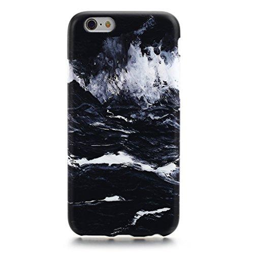 5.5 iPhone 6 Plus 6S Plus SGSELLER TPU Slim Fit Ultra Dünn Stoßfest Anti-Kratz Anti-Fingerabdruck Matt Schutzhülle Gehäuse, Plastik, Marmor (Holz) Marble (Black Sea)
