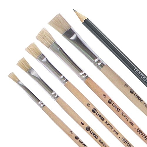 LUKAS Flach-Pinsel / Borstenpinsel 5er Set - Acryl, Öl, Gouache etc. Größe: 2, 4, 6, 8, 10 Echthaar + Kasimir Bleistift