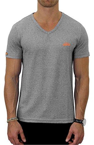 M.Conte Fitness T-Shirt Herren v Ausschnitt Sportstyle Kurzarm Tee Stickerei Logo V-Kragen Grün Blau Purple Marine S/M M/L L/XL XL/XXL Carl (L, Grau Silber) -