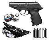 Pack Pistola perdigon Gamo P-23 Combat 4,5mm. Potencia 3,5 Julios + Gafas antivaho + Pañuelo cabeza decorado + Balines + Bombonas co2