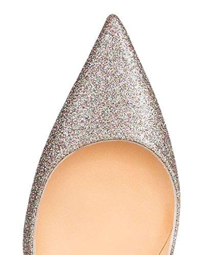 Arc-en-Ciel Damenschuhe spitzen Zehe-Absatzpumpe Silber-