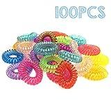 Leisial 100 Stück Gummibändern Telefonkabel elastisch (Kunststoff-Spirale) Haarband, Transparente Farbe