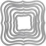 6pcs/set Wavy cuadrado plantillas de corte de metal muere Plantillas para DIY Scrapbooking tarjeta de papel cortador de corte de marcos