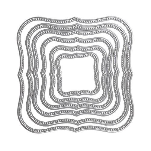Demiawaking 6Pcs Quadratischen Rahmen Form Schneiden Schablonen DIY Sammelalbum Dekor Papier Karten, Metall Buchzeichen , Metall Lesezeichen als Geschenk fuer Freunde (10) -