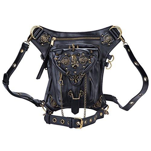 Cestlafit Damen Herren Leder Steampunk Tasche Vintage Schulter Steampunk Handtasche Gothic Taille Packs Bein Tasche, Schädel & Nieten, CFB005-2 CFB005-2