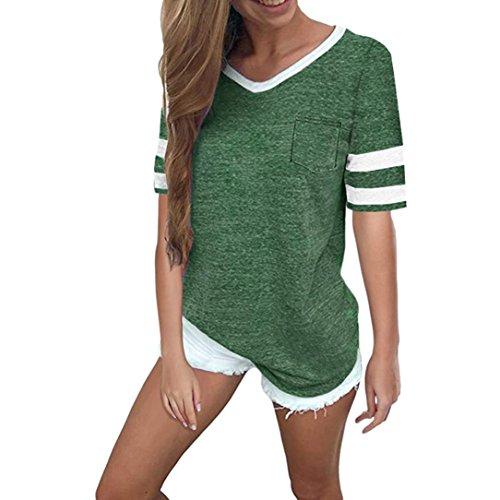 ESAILQ Damen Sportlich T-Shirt V Ausschnitt Kurzarm Top(S,Grün)