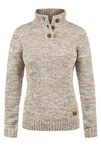 DESIRES Philicita Damen Winter Strickpullover Troyer Grobstrick Pullover mit Stehkragen, Größe:M, Farbe:Dune (5409)