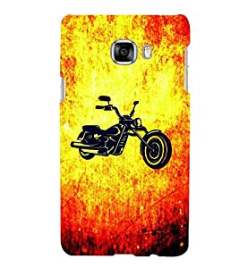 FUSON Black Sport Bike 3D Hard Polycarbonate Designer Back Case Cover for Samsung Galaxy C7 SM-C7000