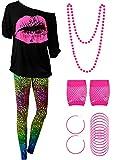 Blulu 80 Jahre Damen Kostüm Set, T Shirt, Legging Hose Ohrring Halskette Handschuhe Armband (Kurz Ärmel, M)