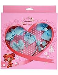 FEOYA - (set de 6)Bebé Niñas Cabello Banda de Goma con Diseño Flores con pelo Clip Elástica Pajarita Azul Elegante Preciosa con caja de regalo
