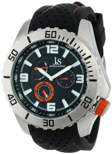 Joshua & Sons Men's Silver-Tone Metal Watch with Black Silicone Strap