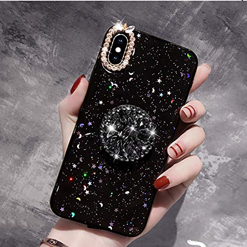VIWIV Anwendbare iPhone Case XS Max Glitter Powder Crescent 6/6s/7plus Protective Cover Fashion Hipster Rhinestone Xr Hülle Mobile Phone Shell 2019,Black,iPhone6plus/6Splus -