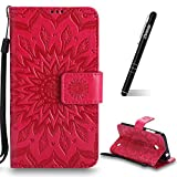 Schutzhülle für Nokia Lumia 630 Rot,Slynmax Mandala Blume Hülle Wallet Case Handyhülle für Nokia Lumia 630/635 Tasche Klapphülle Flip Cover Lederhülle Stand Kartenfächer (Flower of Paradise)