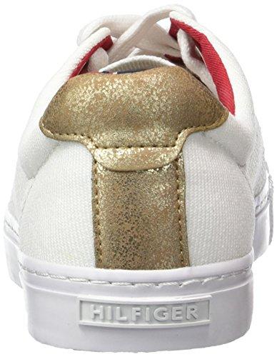 Tommy Hilfiger V1285ali 2c, Baskets Basses femme Blanc - Weiß (SNOW WHITE/GOLD 118)