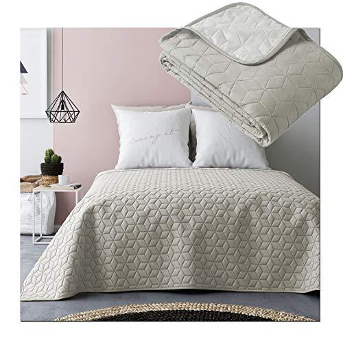JEMIDI Tagesdecke Bett und Sofaüberwurf gesteppt 220cm x 240cm Überwurf Tagesdecke Sofa Couch Decke Husse Überwürfe Steppdecke XL XXL (Variante 2 Beige/Ecru)
