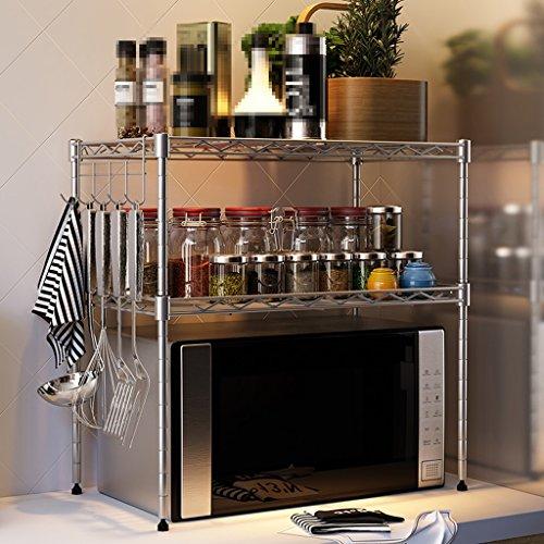 LIEHU HOME-Regal Eisen Racks europäischen Stil 2-stöckige Mikrowelle Regal Lüftung Küche liefert (55 * 30 * 55 cm) ( Farbe : Silber )