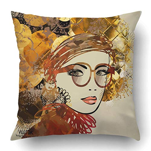 low Covers Model Sketching Girl Face Symbols Space Text Raster is Also in My Gallery Graffiti Vintage Polyester 18 X 18 inch Square Hidden Zipper Decorative Pillowcase ()