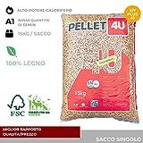 Pellet 4U scuro 100% legno - Pellet stufa qualità DIN/EN PLUS A1 - Alto potere calorifero (40)