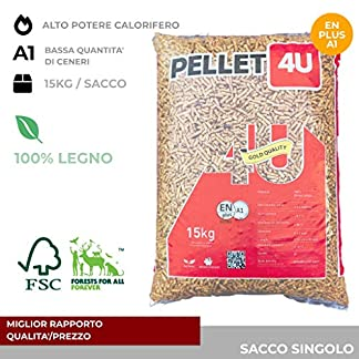 Pellet 4U scuro 100% legno – Pellet stufa qualità DIN/EN PLUS A1 – Alto potere calorifero