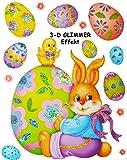 Unbekannt 14 TLG. Set _ 3-D Glimmer Effekt - XL Fensterbilder -  Osterhase mit Osterküken  - statisch haftend - selbstklebend + wiederverwendbar / Ostern & Frühling -..