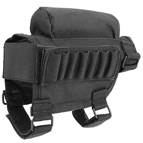 Gewehrschaft Tasche Taktischer Hinterschaft Schale Tragbar Einstellbar Wangenauflage Beutel Halter (Black)