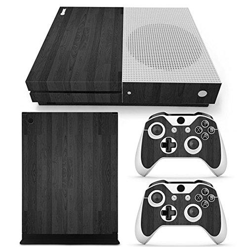 Farbe-ir-video (Morbuy Xbox ONE S Design Folie Skin Vinyl Aufkleber Sticker für Microsoft Xbox ONE S Konsole + 2 Controller Skins Set (Holz Schwarz))