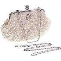 BESTOYARD Bolso de noche Bolso de perlas Bolsos de boda para mujeres Bolsas de banquete para mujeres Chicas (Blanco)