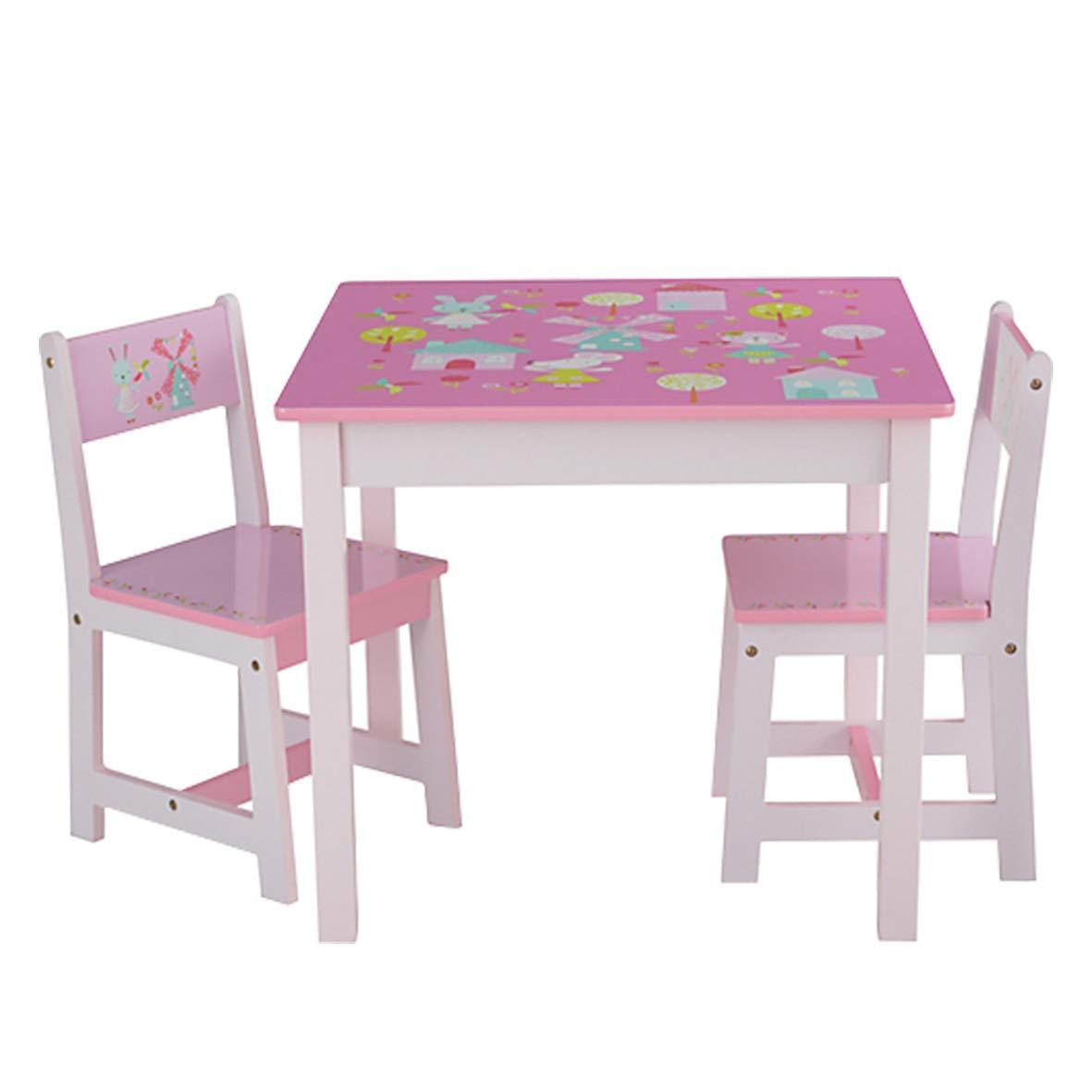Tavoli E Sedie In Legno.Odt Set Tavolo E Sedie Per Bambini In Legno 1 Tavolo 2 Sedie 1 Tavolo E 2 Sedie Coniglio E Mulino A Vento Giochi Legno